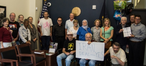 Delivering petitions to support Iran deal to Sen. Donnely