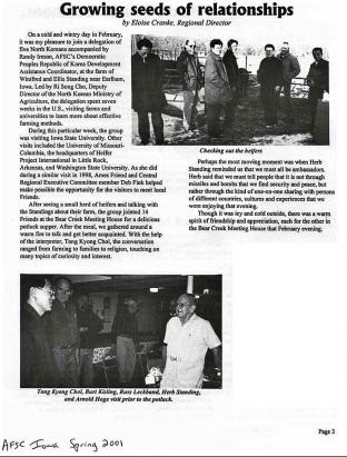North Korea visit to Bear Creek 2001