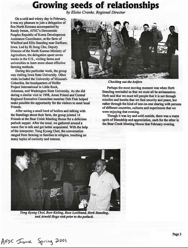 AFSC article about North Korean ag visit to Iowa Spring 2001 Edited 2