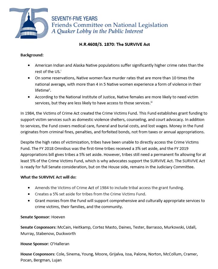 FCNL Survive Act fact sheet